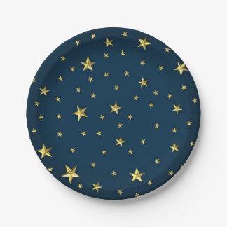 Assiettes En Papier L'or 3D de bleu marine tient le premier rôle le