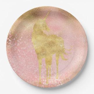 Assiettes En Papier L'or rougissent licorne magique rose