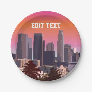 Assiettes En Papier Los Angeles du centre - image personnalisable