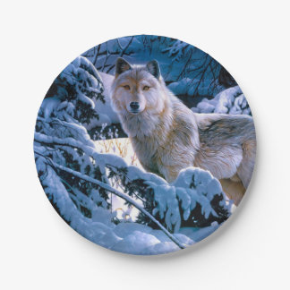 Assiettes En Papier Loup arctique - loup blanc - art de loup