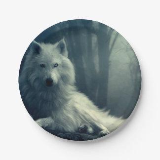 Assiettes En Papier Loup arctique - loup de forêt - loup de neige -