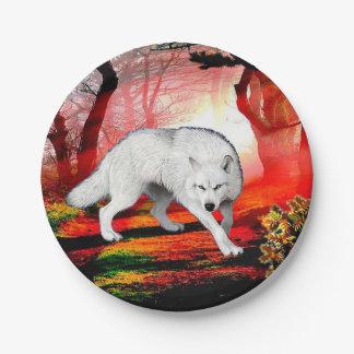 Assiettes En Papier Loup blanc - loup arctique - loup américain