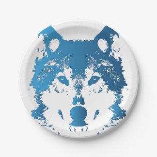 Assiettes En Papier Loup de bleu glacier d'illustration