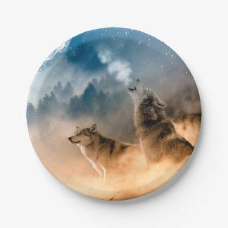 Assiettes En Papier Loup de Howlin - art de loup - loup de lune - loup