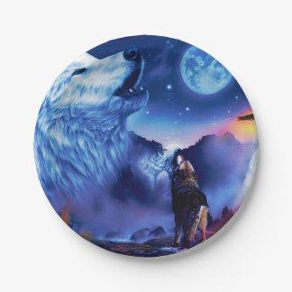 Assiettes En Papier Loup de Howlin - loup blanc - art de loup - loup