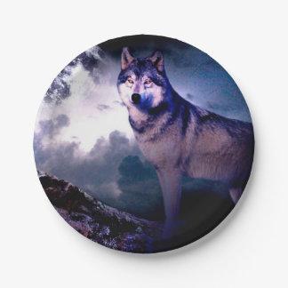 Assiettes En Papier Loup de lune - loup gris - loup sauvage - loup de