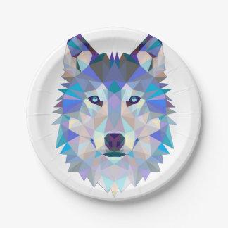 Assiettes En Papier Loup de polygone - loup géométrique - loup