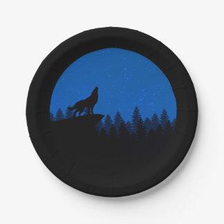 Assiettes En Papier Loup de silhouette - illustration de loup - art de