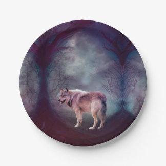 Assiettes En Papier Loup gris - loup foncé - loup américain - art de