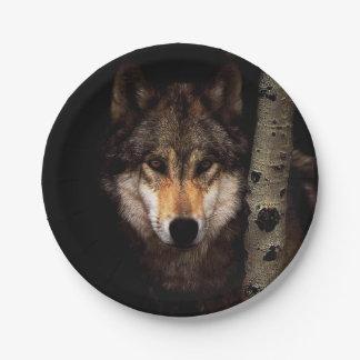 Assiettes En Papier Loup gris - loup sauvage - loup de visage - loup
