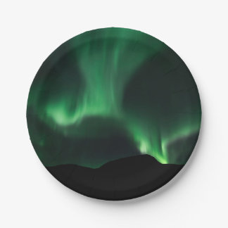 Assiettes En Papier Lumières du nord vertes dans le ciel nocturne