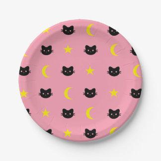 Assiettes En Papier lune de chat de minou et plaques à papier