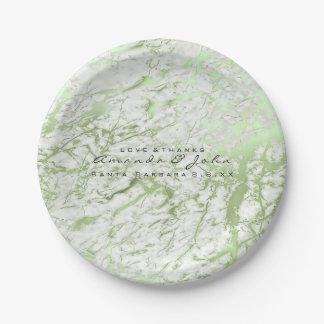 Assiettes En Papier luxe en pierre de marbre de verdure de vert de