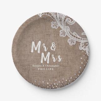 Assiettes En Papier M. et Mme mariage rustique de parties