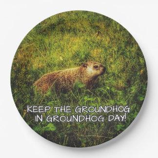Assiettes En Papier Maintenez le Groundhog dans le plat de jour de