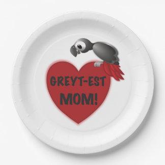Assiettes En Papier maman Greyt-est ! - Perroquet de gris africain