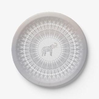 Assiettes En Papier Mandala beige d'éléphant de Taupe