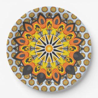 Assiettes En Papier Mandala-Jaune