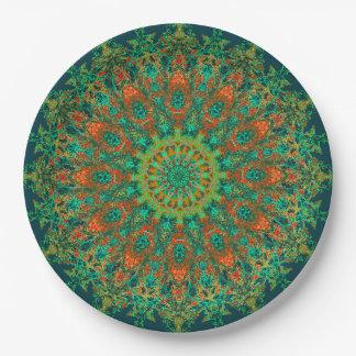 Assiettes En Papier Mandala vert sensible de Bohostyle