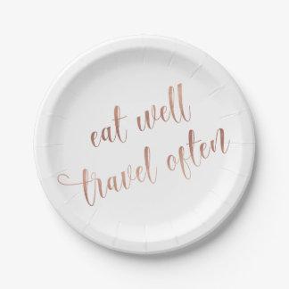 Assiettes En Papier Mangez bien, typographie souvent rose de citation