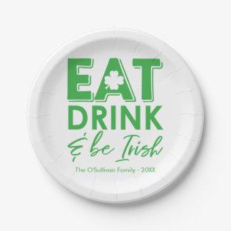 Assiettes En Papier Mangez, boisson et soyez le jour de St Patrick