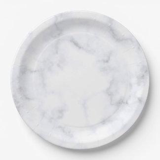 Assiettes En Papier Marbre blanc