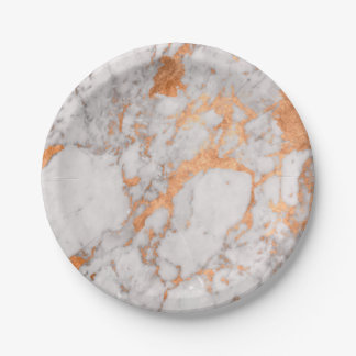 Assiettes En Papier Marbre blanc et plaque à papier de cuivre