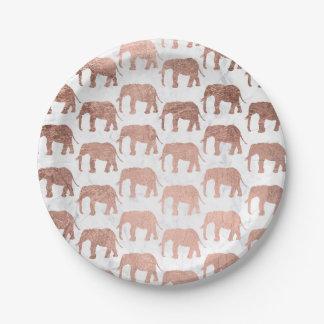 Assiettes En Papier Marbre rose de blanc d'éléphants d'or de faux