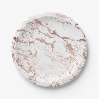 Assiettes En Papier Marbre rose de blanc d'or de faux chic moderne