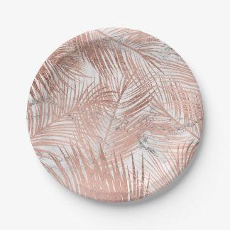 Assiettes En Papier Marbre rose de feuille de palmier d'or de faux
