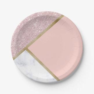 Assiettes En Papier Marbre rose géométrique élégant de blanc de