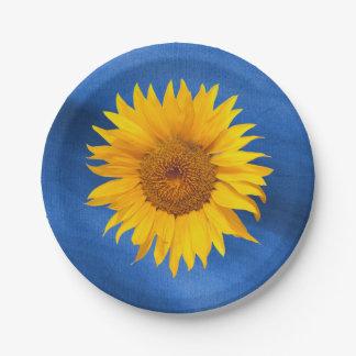 Assiettes En Papier Mariage d'été de bleu royal de tournesol de pays
