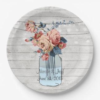 Assiettes En Papier Mariage en bois floral de pot de maçon de pays