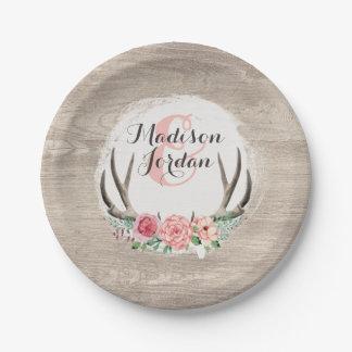 Assiettes En Papier Mariage en bois rustique d'andouillers floraux