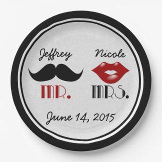 Assiettes En Papier Mariage fait sur commande de rétro moustache