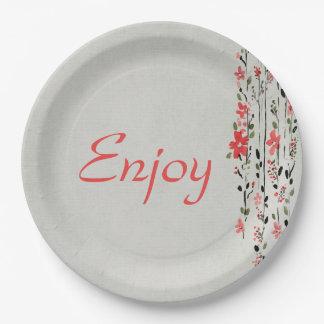 Assiettes En Papier Mariage floral d'aquarelle de style oriental