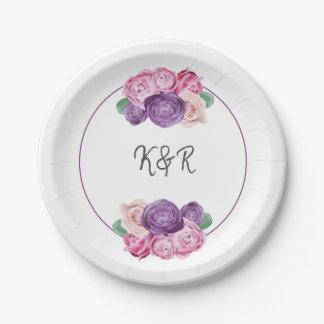 Assiettes En Papier Mariage floral de roses ultra-violets et roses