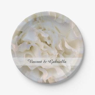 Assiettes En Papier Mariage floral d'oeillet blanc