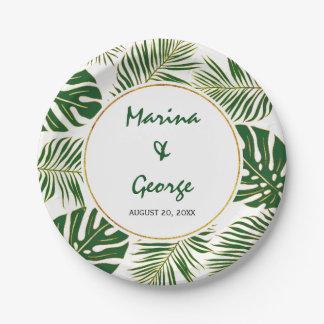 Assiettes En Papier Mariage moderne d'or vert de feuille tropical