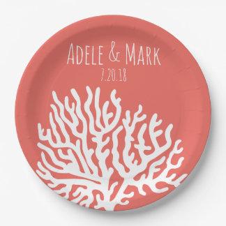 Assiettes En Papier Mariage rose de corail de corail côtier de mer