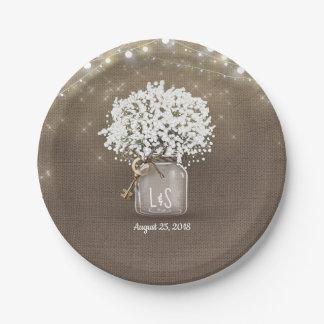 Assiettes En Papier Mariage rustique de toile de jute de pot de maçon