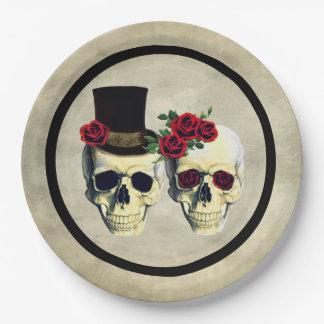 Assiettes En Papier Mariage rustique squelettique de crâne de jeune