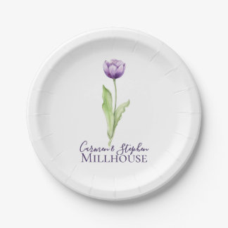 Assiettes En Papier Mariage simple mauve-foncé minimaliste de tulipe