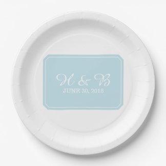 Assiettes En Papier Mariage simplement élégant de bleu