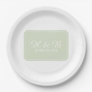 Assiettes En Papier Mariage simplement élégant de vert