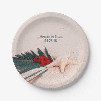 Assiettes En Papier Mariage tropical de palmette et d'étoiles de mer