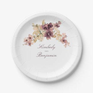 Assiettes En Papier Mauve et mariage floral vintage d'or