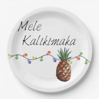 Assiettes En Papier Mele Kalikimaka - plaques à papier de Noël