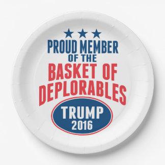 Assiettes En Papier Membre fier du panier de Deplorables - atout