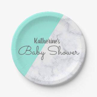 Assiettes En Papier Menthe élégante et baby shower de marbre blanc